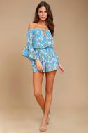 Stay Sweet Light Blue Floral Print Off-the-Shoulder Romper 1