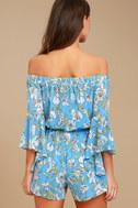 Stay Sweet Light Blue Floral Print Off-the-Shoulder Romper 3