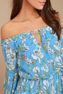 Stay Sweet Light Blue Floral Print Off-the-Shoulder Romper 4