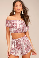 Attention to Detail Rust Red Print Off-the-Shoulder Crop Top 2