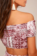 Attention to Detail Rust Red Print Off-the-Shoulder Crop Top 4