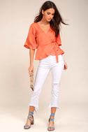 Heart to Heart Coral Orange Satin Wrap Top 1