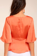 Heart to Heart Coral Orange Satin Wrap Top 3