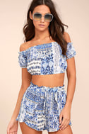 Attention to Detail Blue Print Off-the-Shoulder Crop Top 2