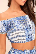 Attention to Detail Blue Print Off-the-Shoulder Crop Top 4