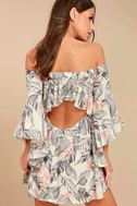 Sun-Drenched Daydream Beige Floral Print Off-the-Shoulder Dress 3