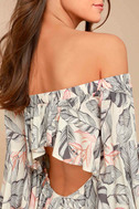 Sun-Drenched Daydream Beige Floral Print Off-the-Shoulder Dress 4