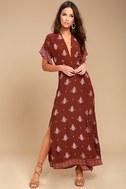 Faithfull the Brand Tuula Rust Red Print Maxi Dress 1