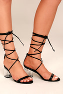 Penny Black Lucite Lace-Up Heels 4