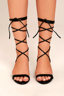 Penny Black Lucite Lace-Up Heels 1