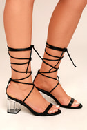 Penny Black Lucite Lace-Up Heels 2