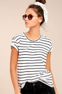 Amuse Society Tanner Black and White Striped Tee 1