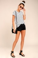 Amuse Society Tanner Black and White Striped Tee 2