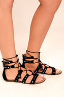 Report Laurel Black Suede Gladiator Sandals 2