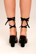 Devyn Black Suede Lace-Up Heels 3