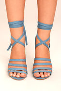 Devyn Denim Blue Lace-Up Heels 1