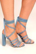 Devyn Denim Blue Lace-Up Heels 2