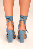 Devyn Denim Blue Lace-Up Heels 3