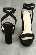 Katie Mae Black Suede Ankle Strap Heels 3
