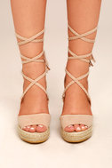 Cali Beige Suede Espadrille Lace-Up Wedges 1