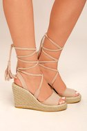 Cali Beige Suede Espadrille Lace-Up Wedges 2