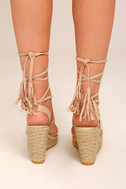 Cali Beige Suede Espadrille Lace-Up Wedges 3