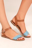 Hearts and Hashtags Blue Flat Sandals 4