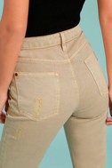 Moon River Epoch Taupe Distressed Skinny Jeans 4