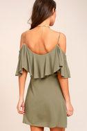 Sweet Treat Olive Green Off-the-Shoulder Dress 3