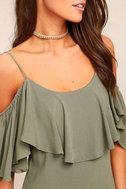 Sweet Treat Olive Green Off-the-Shoulder Dress 4