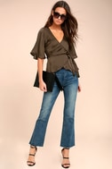 Heart to Heart Olive Green Satin Wrap Top 1