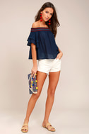 Que Sera Navy Blue Embroidered Off-the-Shoulder Top 1