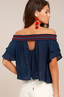 Que Sera Navy Blue Embroidered Off-the-Shoulder Top 3