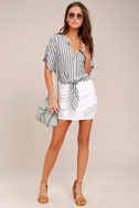 Newport Beach Grey and White Striped Top 1