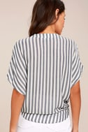 Newport Beach Grey and White Striped Top 3