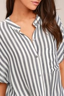 Newport Beach Grey and White Striped Top 4