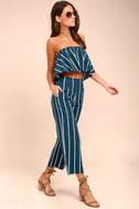 Faithfull the Brand Tomas Navy Blue Striped Culottes 3