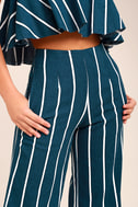 Faithfull the Brand Tomas Navy Blue Striped Culottes 2
