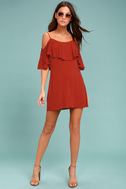 Sweet Treat Rust Red Off-the-Shoulder Dress 1