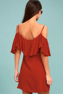Sweet Treat Rust Red Off-the-Shoulder Dress 3