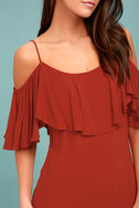Sweet Treat Rust Red Off-the-Shoulder Dress 4