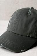 Block Party Dark Grey Distressed Baseball Cap 2
