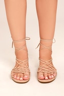 Nisse Nude Suede Lace-Up Sandals 1