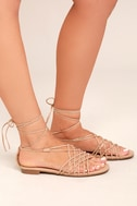 Nisse Nude Suede Lace-Up Sandals 2
