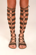 Hasna Taupe Suede Tall Gladiator Sandals 1