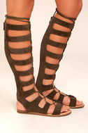 Hasna Taupe Suede Tall Gladiator Sandals 2