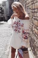 Free People Fleur Du Jour Cream Embroidered Dress 5