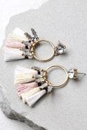Venetian Moon Gold Rhinestone Tassel Earrings 1