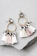 Venetian Moon Gold Rhinestone Tassel Earrings 2