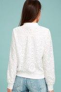 La Femme White Lace Bomber Jacket 3